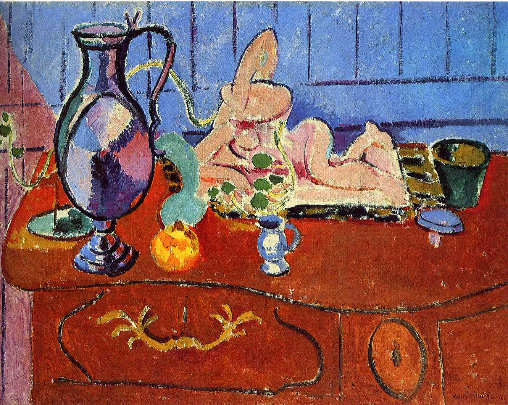 Henri Matisse - Still Life with a Pewter Jug and Pink Statuette 1910