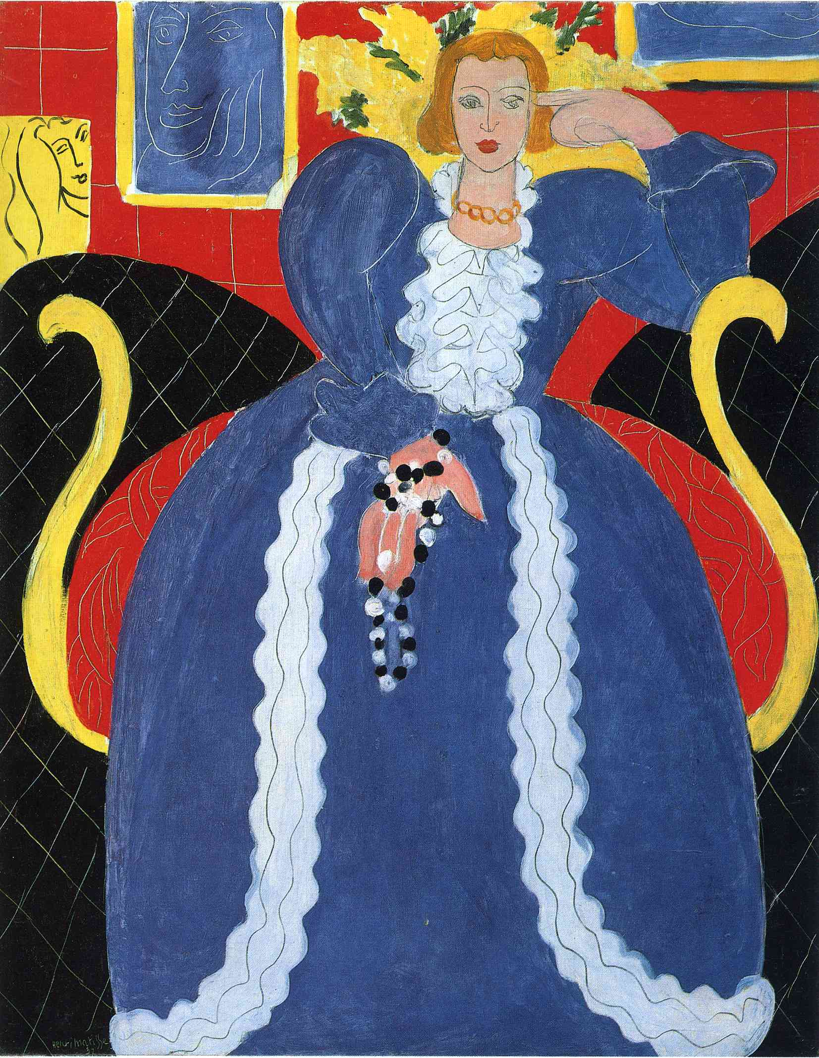 Henri Matisse - Woman in Blue, or The Large Blue Robe and Mimosas 1937