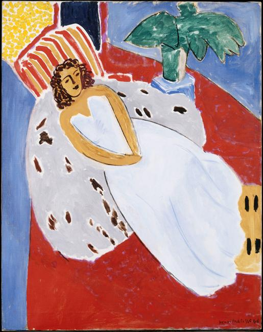 Henri Matisse - Young Woman in White, Red Background  1946