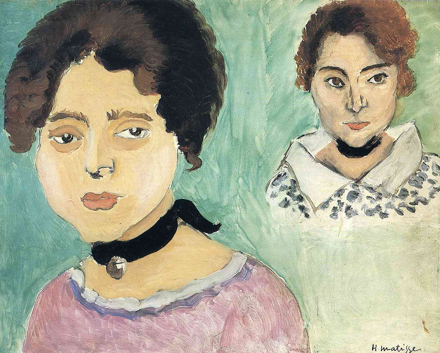 Henri Matisse - Double Portrait of Marguerite on a Green Background 1919