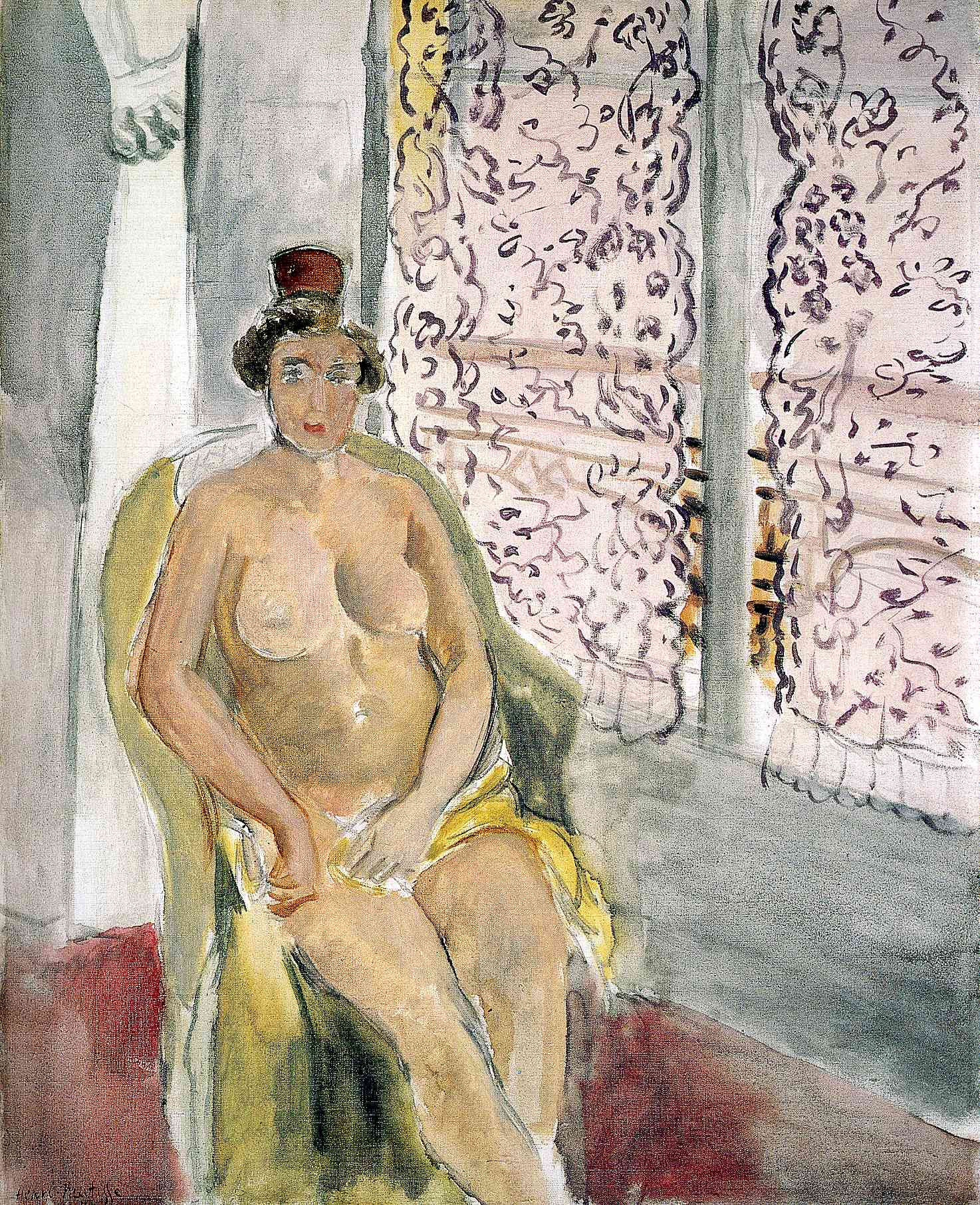 Henri Matisse - Nude with a Spanish Comb, Seated by a Curtained Window 1924
