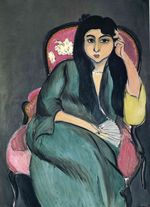 Laurette in Green in a Pink Chair 1917