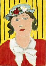 Woman in Red Flowered Hat 1935