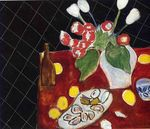 Tulips and oysters on a black background 1943