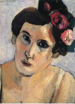 Woman's Head, Flowers in Her Hair 1917