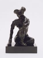1908 Seated Figure, Right Hand on Ground 19cm